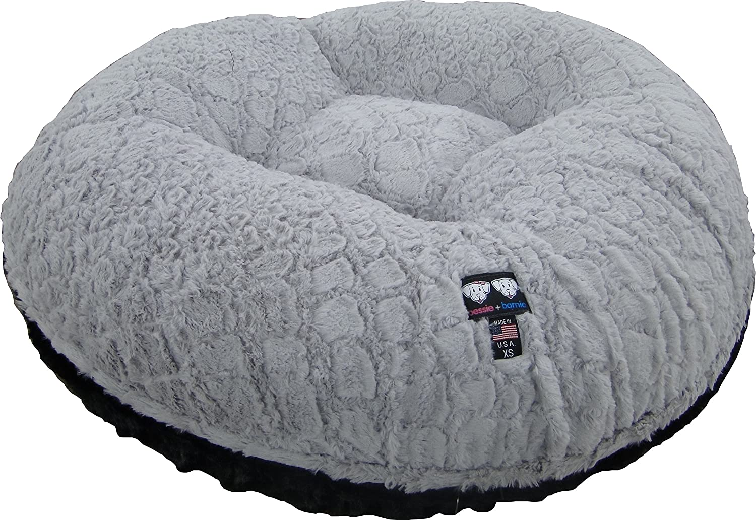 BESSIE AND BARNIE 30-Inch Bagel Bed for Pets, Small, Black Puma/Serenity Grey