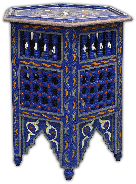 Casa Andaluz Mesa de caf/é Octagonal de Estilo musharabia marroqu/í Color Azul Di/ámetro 45 Altura 60 cm
