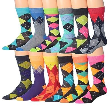 24c152b3ca28 James Fiallo Men's 12-Pairs Funky Colorful Crew Dress Socks (Argyle Funk),