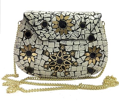 Gannu Party Sling Embrague bolsa de mosaico de piedra Embrague Étnico Caja de metal nupcial billetera Bolso indio vintage embragues de fiesta para mujeres ...