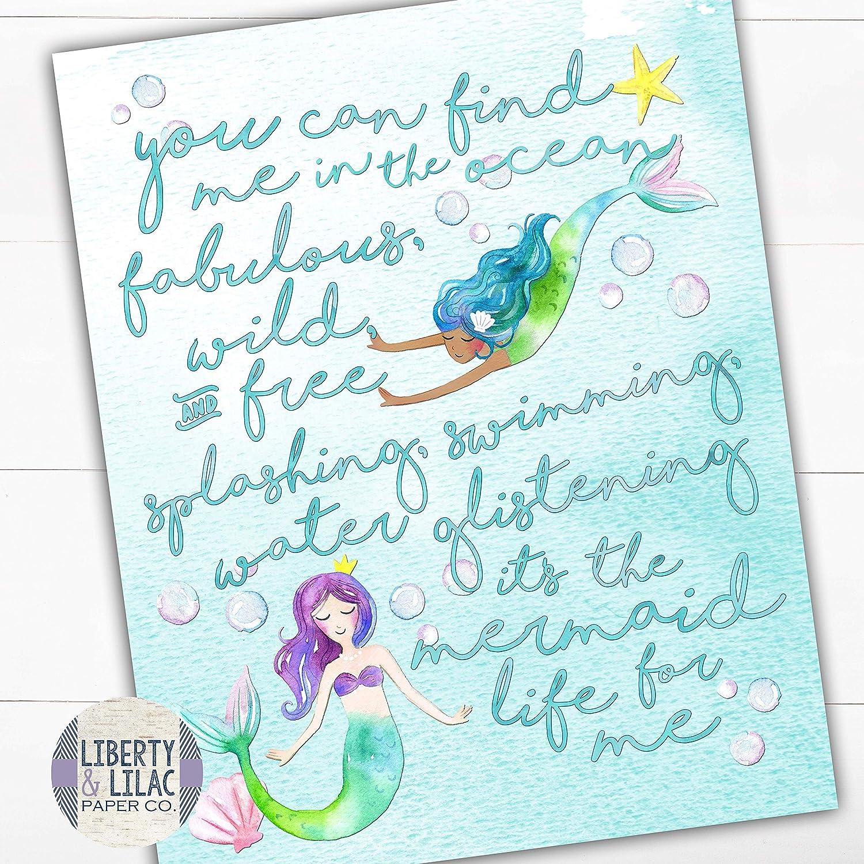 Mermaid Print Kids Mermaid Wall Art Sea Theme Home Decor Keep Swimming