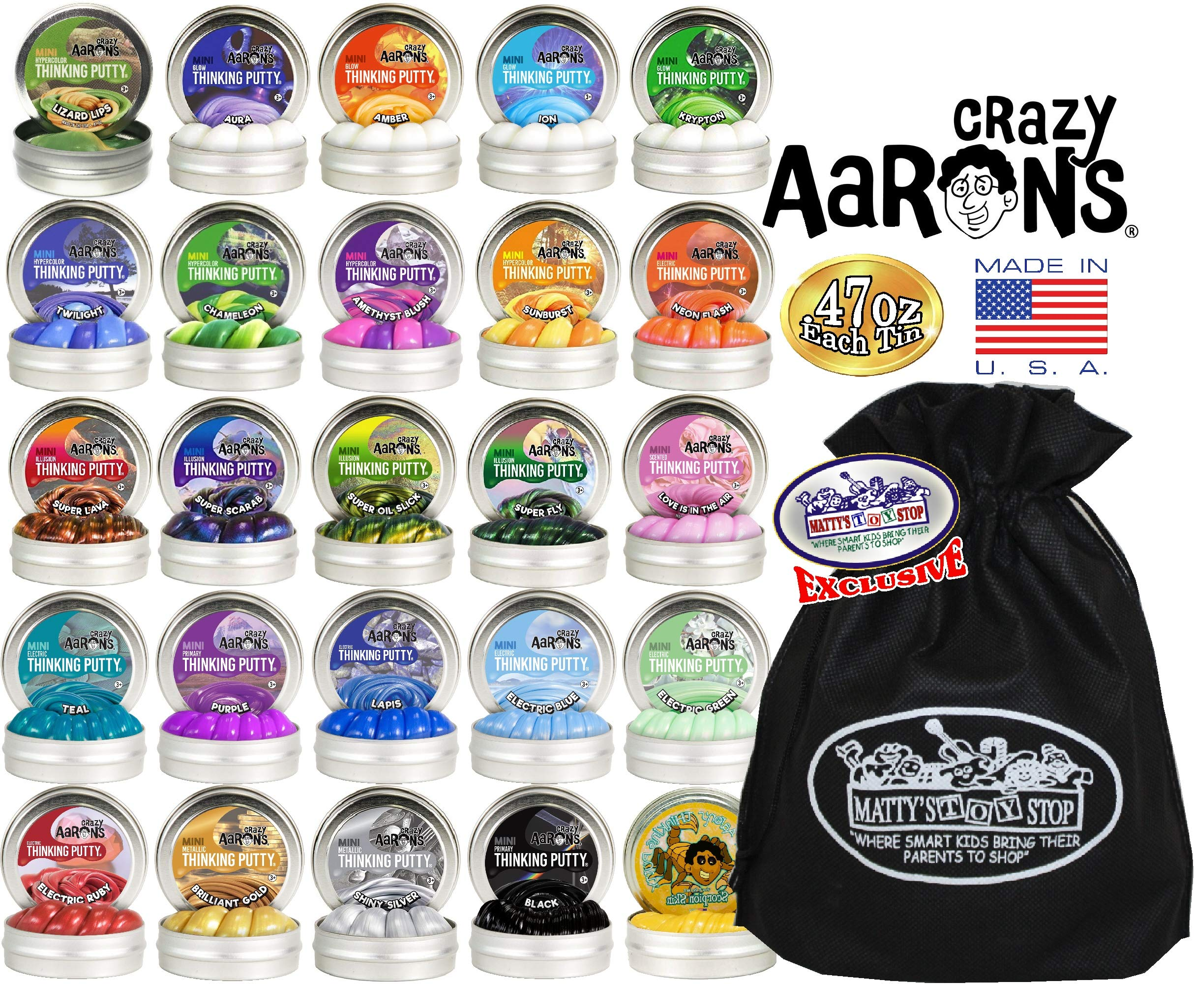 Crazy Aaron's Thinking Putty Mini Tins Deluxe Gift Set Bundle Featuring Glow, Hypercolor, Super Illusions, Scented, Electric, Primary, Metallic & Exclusive Matty's Toy Stop Bag - 25 Pack (.47 oz each) by Crazy Aaron's (Image #2)