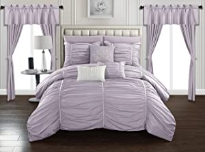 Chic Home Avila 20 Piece Comforter Set Ruffled Ruched Designer Bag Bedding-Sheets Window Treatments Decorative Pillows Shams Included, Queen, Lilac