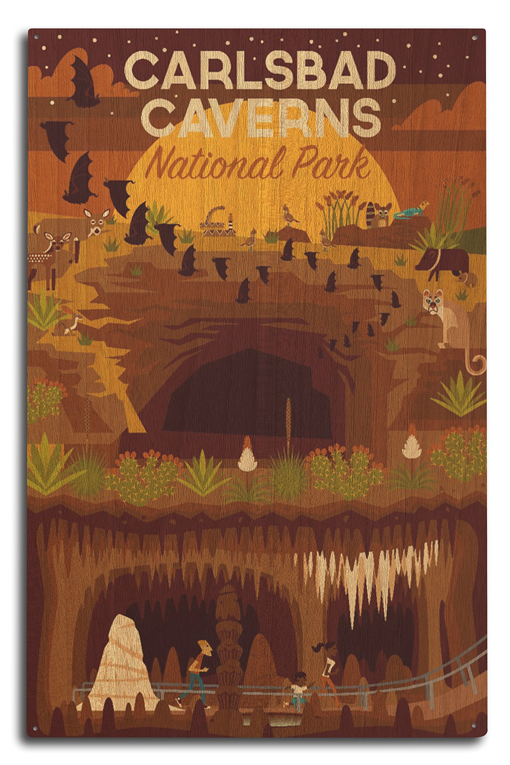 Lantern Press Carlsbad Caverns National Park, New Mexico - Geometric (10x15 Wood Wall Sign, Wall Decor Ready to Hang)