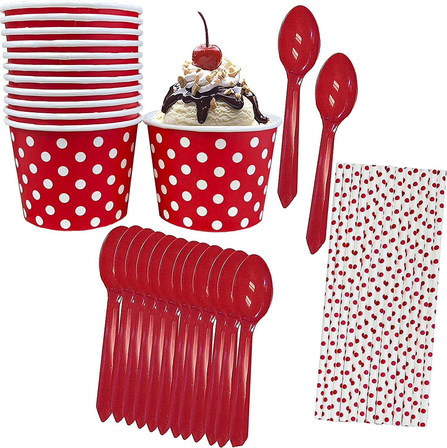 Ice Cream Sundae Kit - 12 Ounce Red White Polka Dot Paper Treat Cups - Plastic Spoons - Red Dot Paper Straws - 12 Pack Outside the Box Papers
