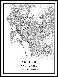 San Diego map Poster Print | Modern Black and White Wall Art | Scandinavian Home Decor | California City Prints Artwork | Fine Art Posters 18x24