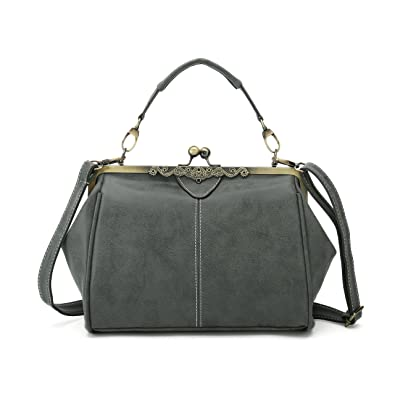 Amazon.com  Vintage Handbags Kiss Lock Cross Body Purses Shoulder Messenger  Tote Bags for Women PU Leather (Army Green)  Shoes 61929df5f8b1d
