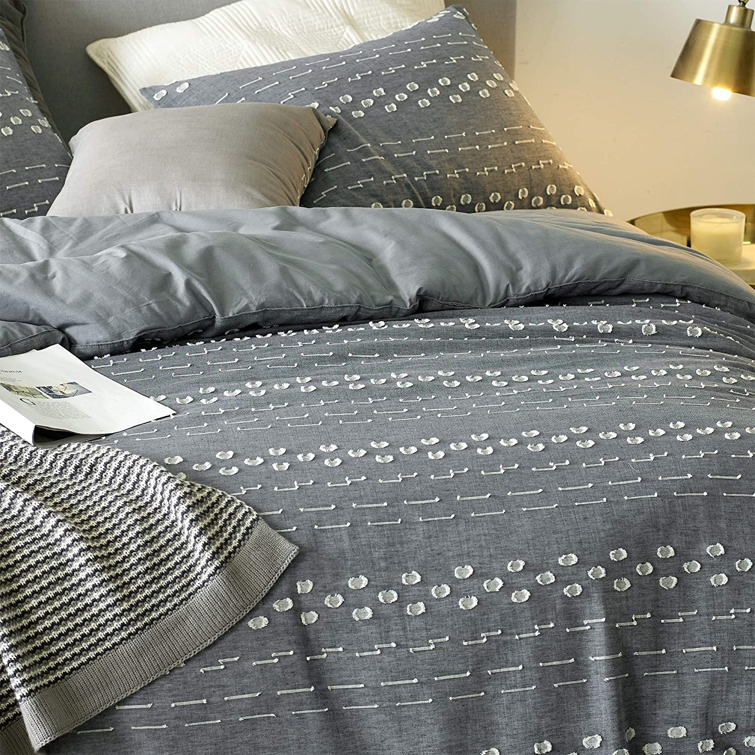 Byourbed Conceptual Gray Textured Twin XL Duvet Cover