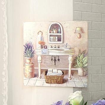 Tableau Peinture Toile Carré , Canvas , Tableau Salle de Bain Shabby ...