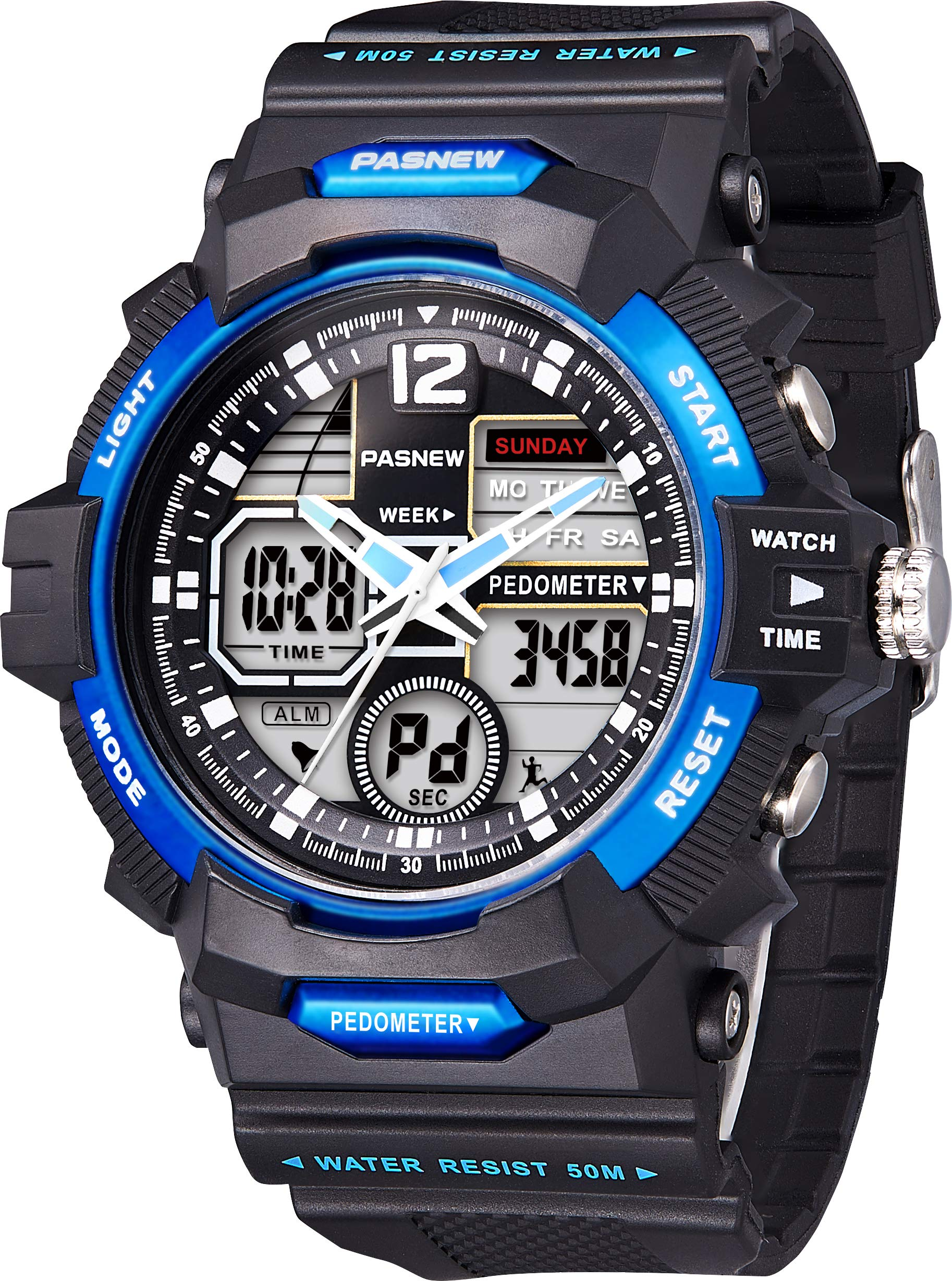 PASNEW Kids Watch Multi Function Digital-Analog Sport Watches for 8-Year Old or Above Children-Black Blue