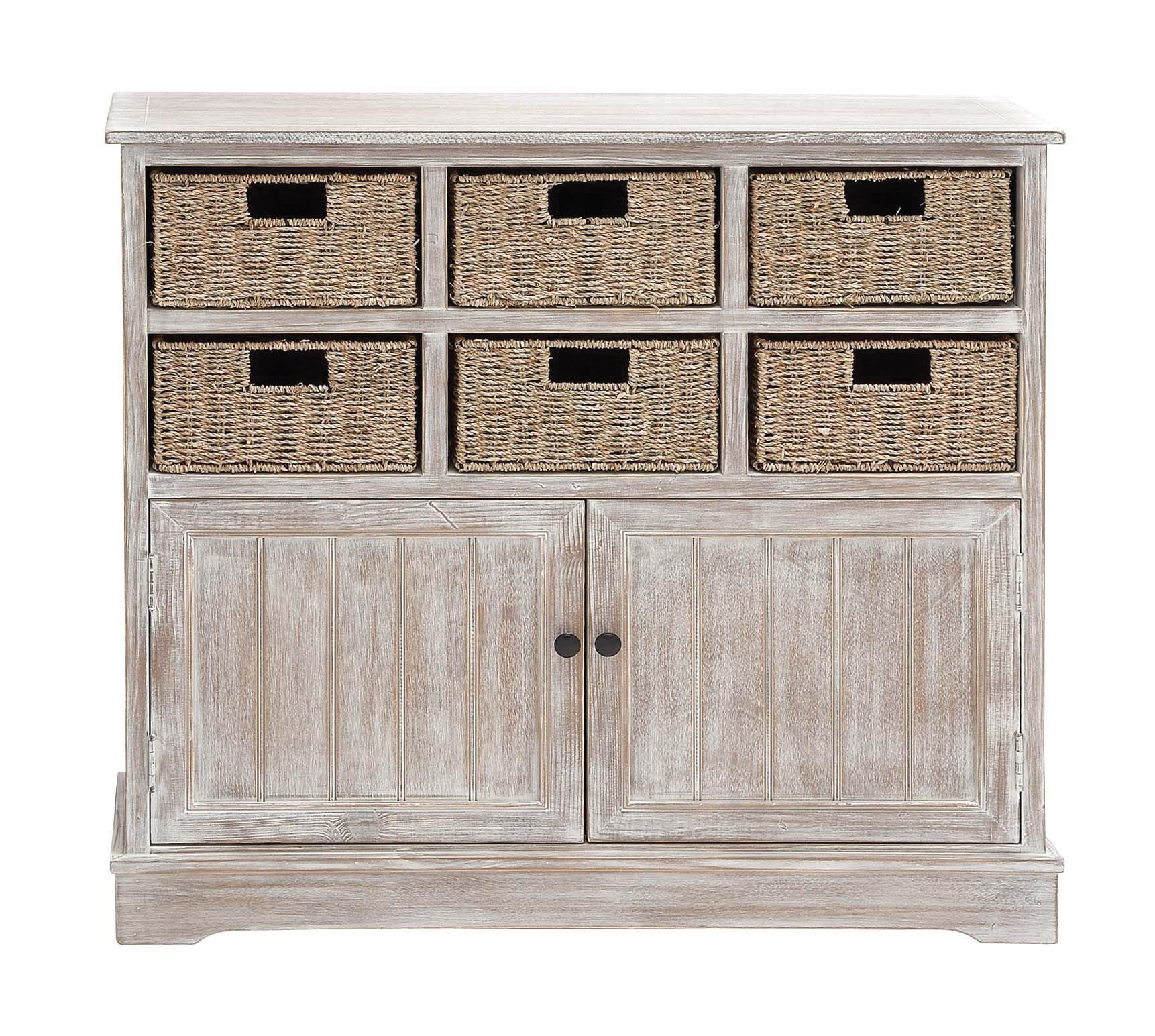 Benzara 96296 The Lovely Wood 6-Basket Cabinet