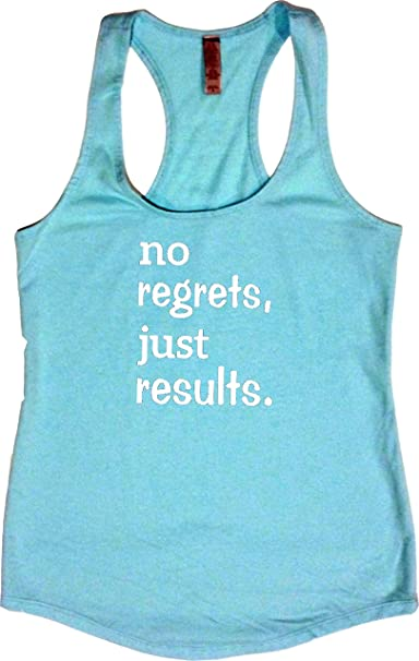 bb21a27781c87 Orange Arrow Womens Workout Tank Tops - No Regrets Just Results - Zumba  Clothes With Sayings at Amazon Women s Clothing store