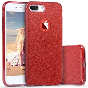 Coovertify Funda Purpurina Brillante Red Rose iPhone 8 Plus, Carcasa roja resistente de gel silicona con brillo rojo rosa para Apple iPhone 8 Plus ...