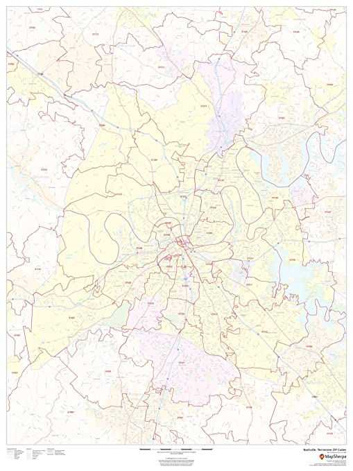 Amazon Com Nashville Tennessee Zip Codes 36 X 48 Matte