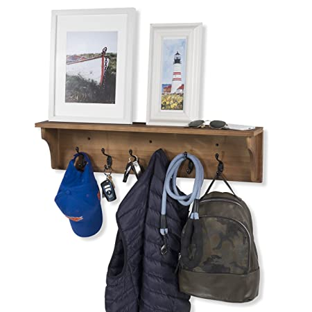 brightmaison Solid Wood Entryway Organization Wall Mountable 30 Inch Coat Rack with 6 Hooks Walnut