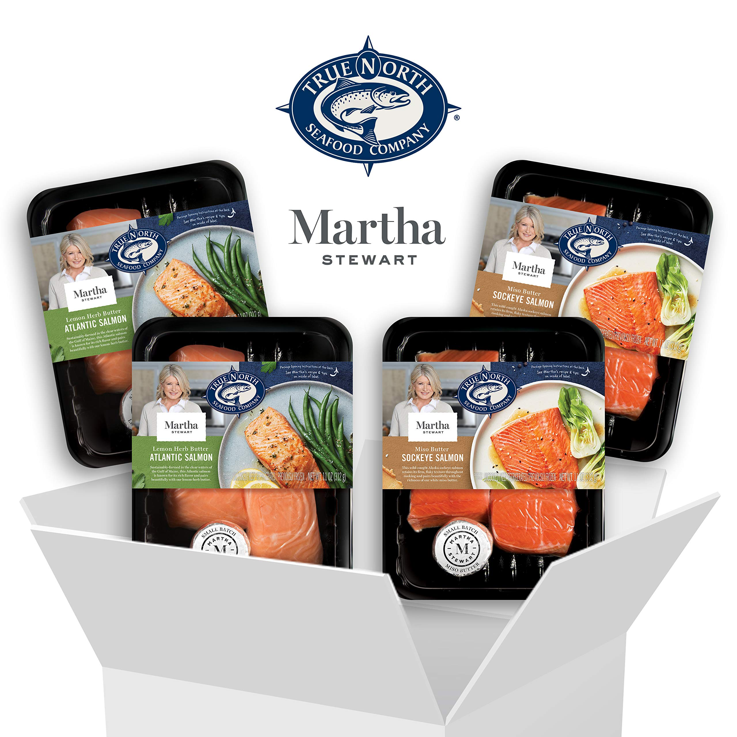 Martha Stewart for True North Seafood: Simple and Easy Sockeye Salmon with Miso Butter and Atlantic Salmon with Lemon Herb Butter - (Pack of 4) 11 oz. Trays by True North Seafood Company (Image #1)