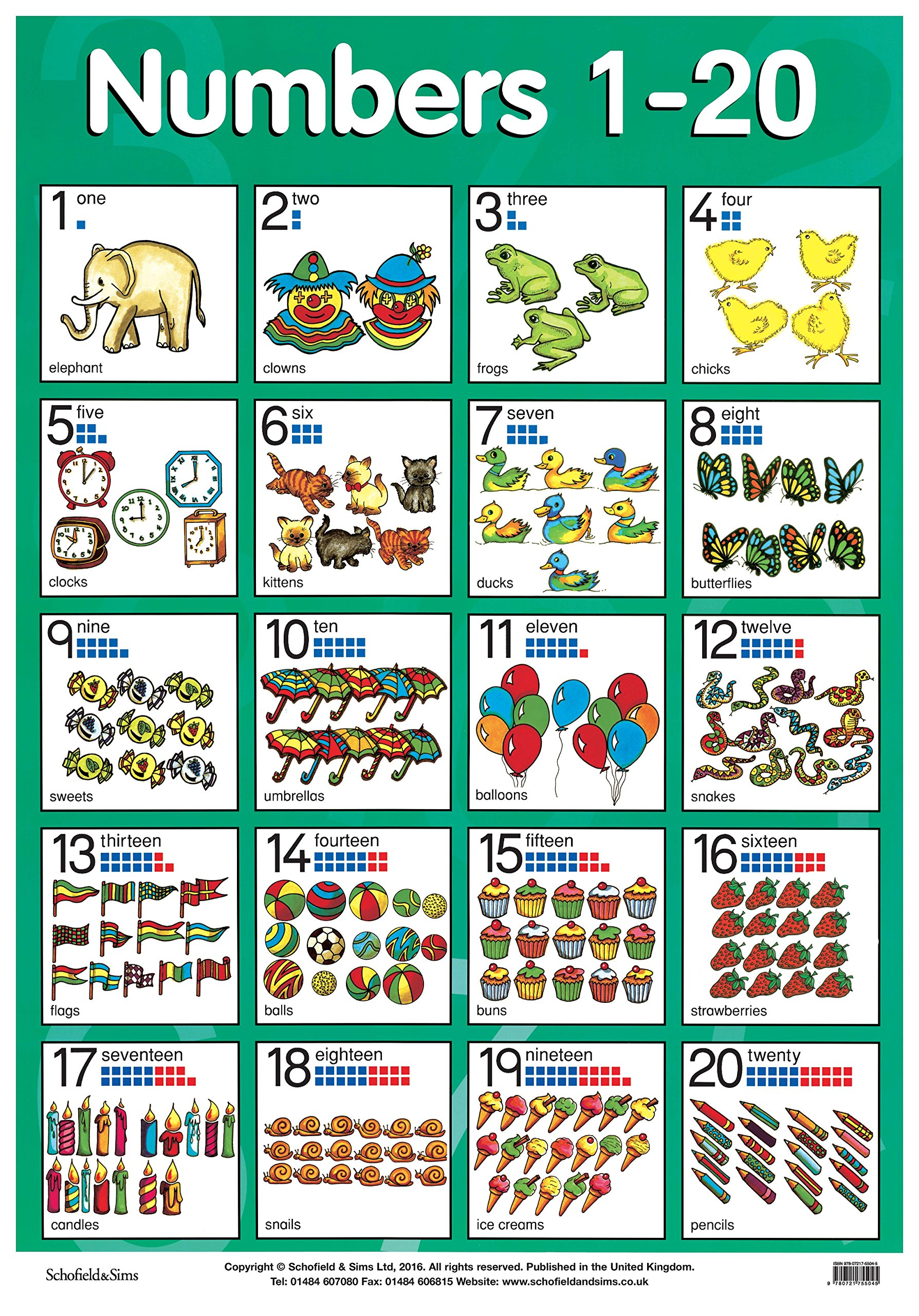 Worksheet Number Chart 1-20 numbers 1 20 laminated poster posters schofield sims 9780721755045 amazon com books