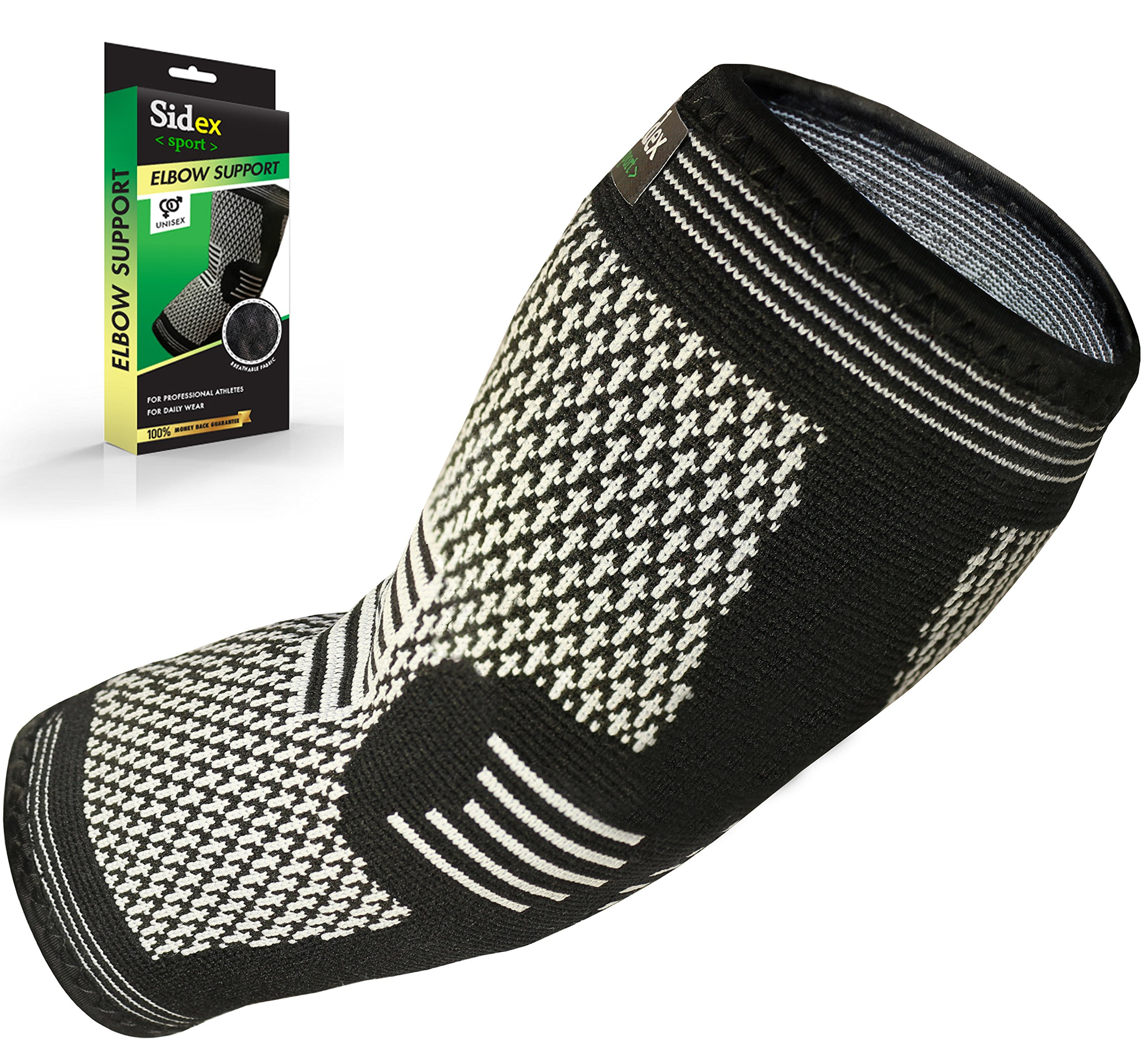 Elbow Brace Compression Sleeve - Arm Support for Tendonitis, Golf, Bowling, Tennis, Weightlift - Reduce Pain and Promotes Recovery! (B&w, Size: Medium)