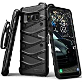 S8 Case, Samsung Galaxy S8 Case, SGM Hybrid Dual Layer Armor Defender Protective Case Cover + Belt Clip Holster For S8 [Drop Tested] (Black + Black)