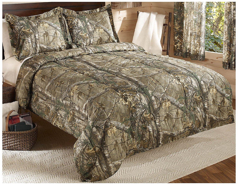 Real Tree Xtra Mini Comforter Set, King, Tan, Camo