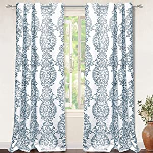DriftAway Samantha Thermal Room Darkening Grommet Unlined Window Curtains Floral Damask Medallion Pattern 2 Panels 52 Inch 96 Inch Blue