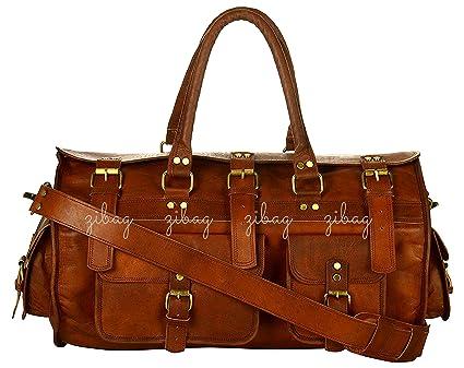 Amazon.com  Zibag Genuine Leather Duffel Bag Travel Gym Bag Round ... 660fd6a2880f0