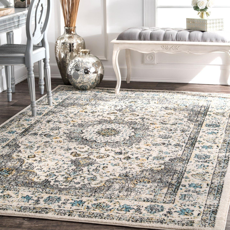 nuLOOM 200RZBD07A-53079 Verona Vintage Persian Area Rug, 5 x 7 5 , Grey, Gray