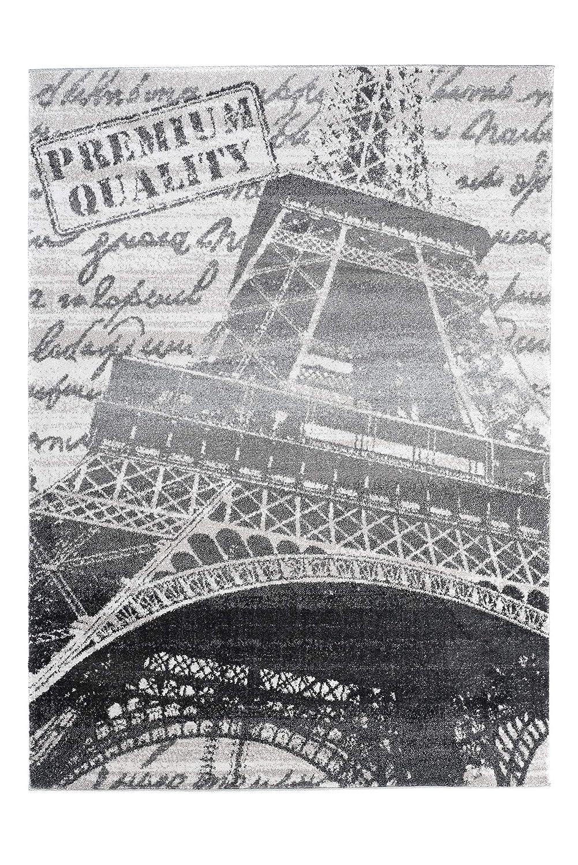 Tapiso Lux Verso Teppich Wohnzimmer Kurzflor Modern Eifelturm Paris Motiv Grau Creme Schwarz Meliert Schlafzimmer Esszimmer ÖKOTEX 240 x 330 cm
