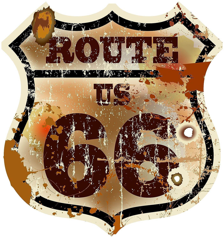 8x 7,5cm–Escudo contornos corte–Auto Adhesivo Ruta 66de Estados Unidos Vintage Retro Old School Motorcycles Pegatina para el coche motocicleta Teléfono Móvil Laptop