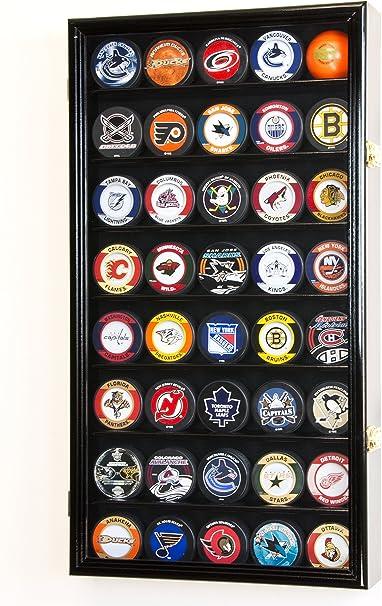 40 Hockey Puck Display Case Cabinet Holder Rack 98% UV