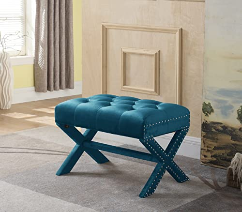 Iconic Home Doreen Updated Neo Traditional Polished Nailhead Tufted Velvet X Ottoman, Teal