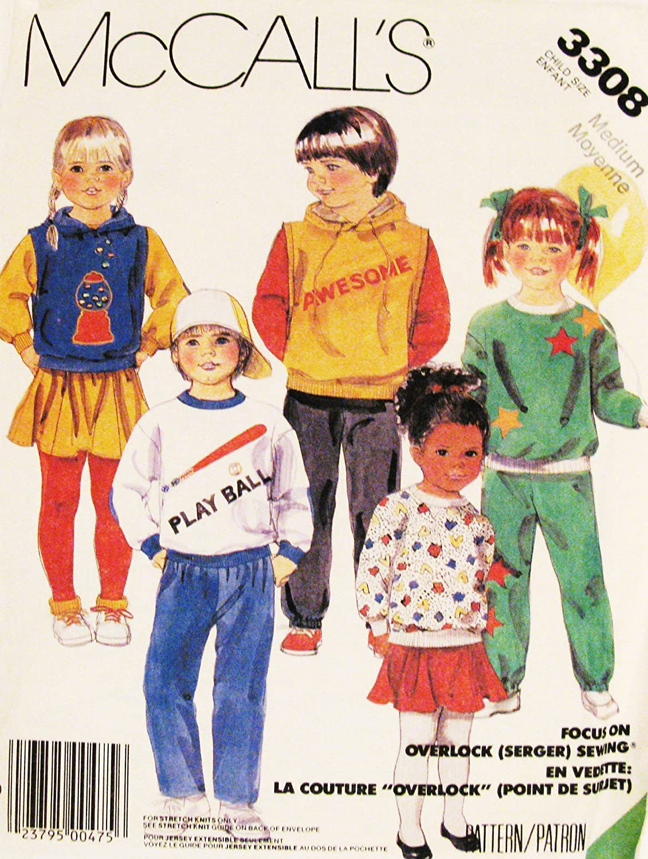 Amazon Mccalls 3308 Children Sz 3 4 Vest Top Pants Hooded