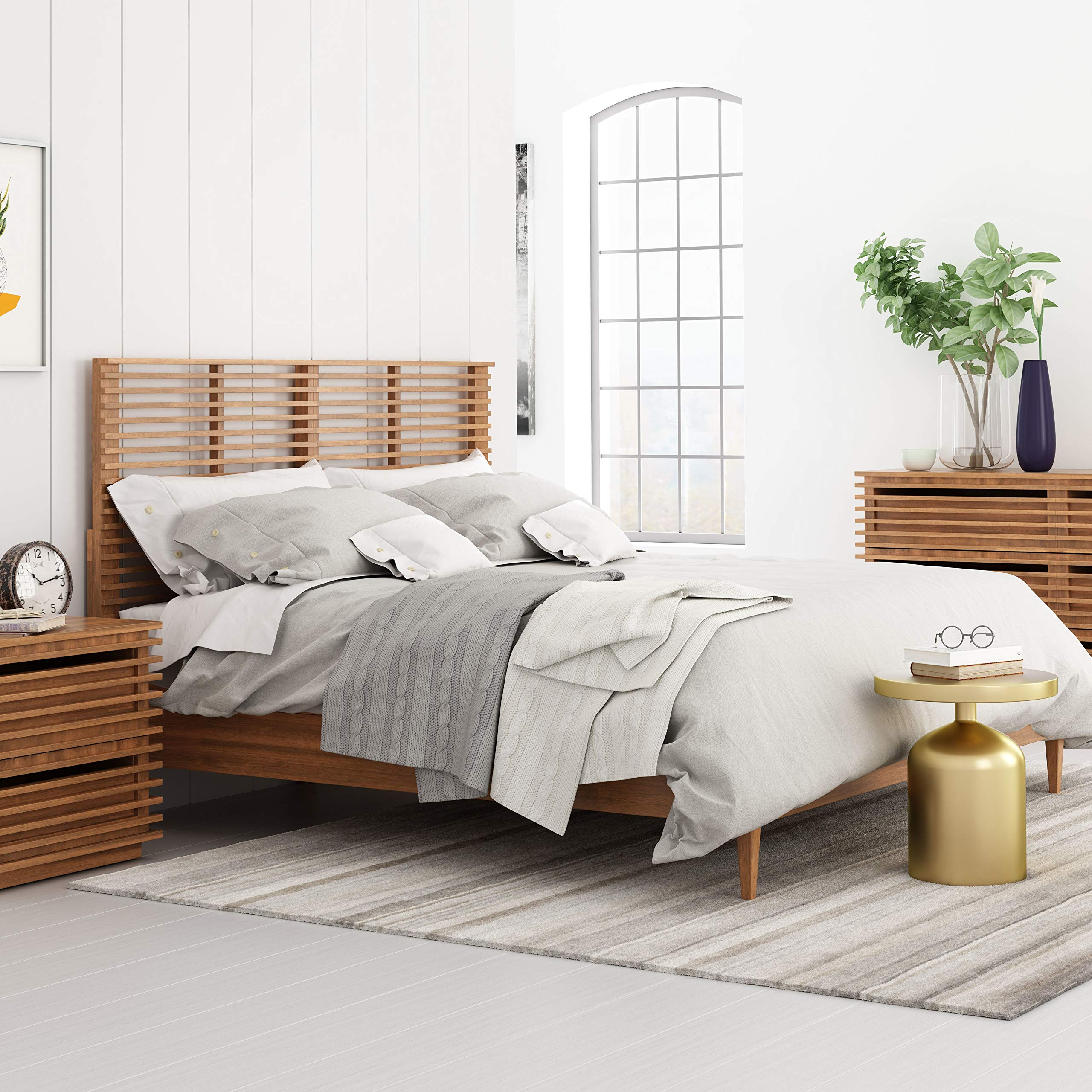 Linea Headboard King Walnut Brown Modern Contemporary Wood Finish by Unknown