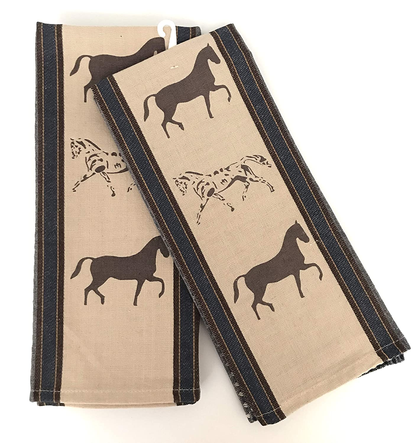 INDIA OVERSEAS Show Horses Weave Kitchen Towels in Blue & Wheat, Set of 2