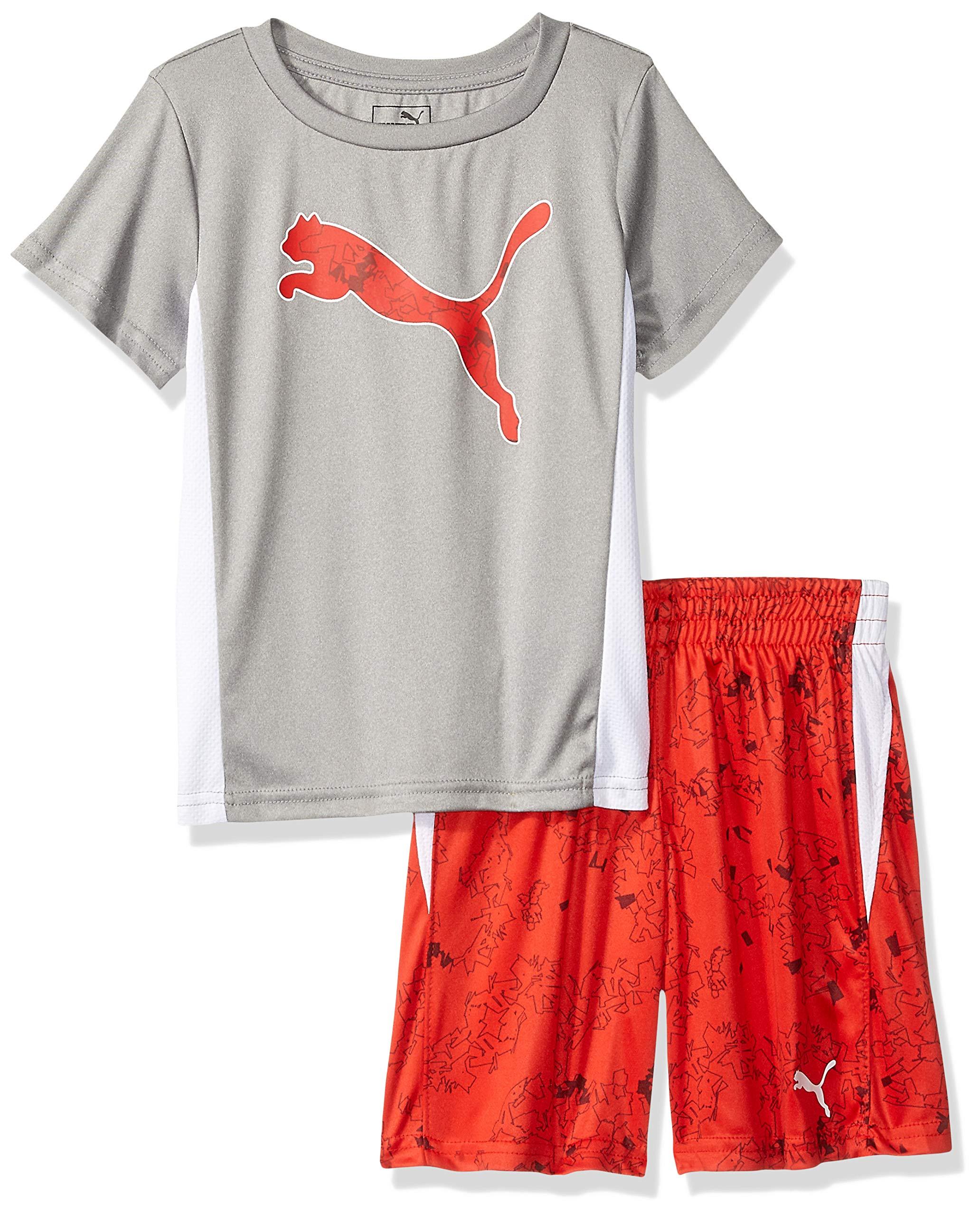 PUMA Little Boys' T-Shirt & Short Set, Light Heather Grey 5