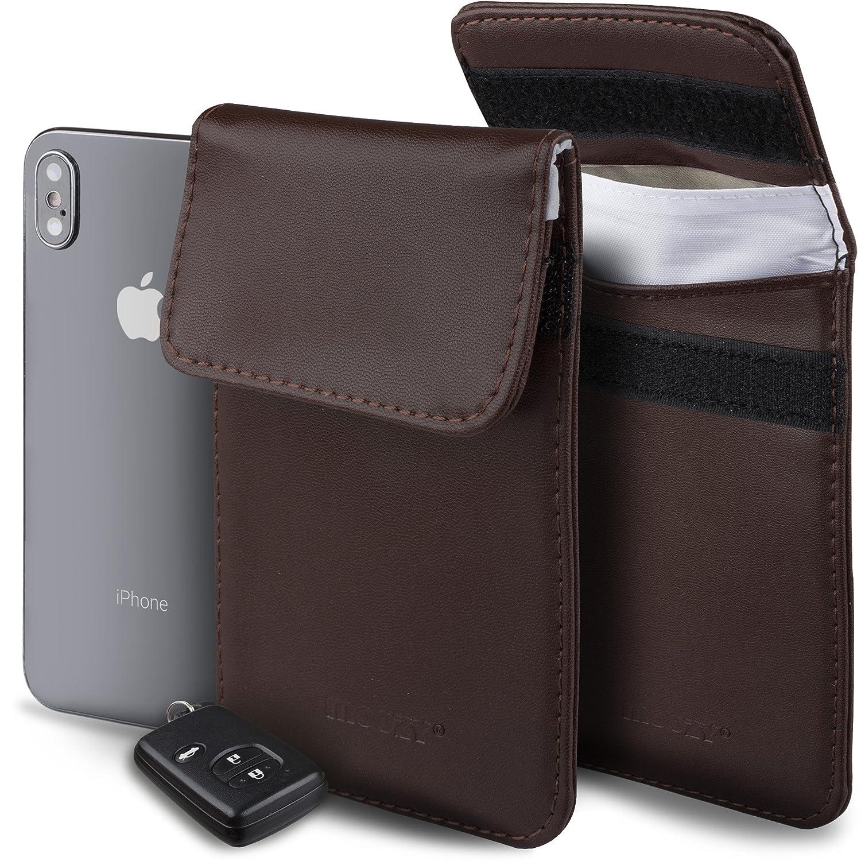 Moozy Keyless Go Schutz Autoschlü ssel Weiß RFID Blocker Ö ko-Leder Strahlenschutz Tasche fü r Keyless Schlü ssel Key Safe Case 100% Sichere