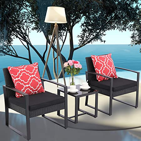 Do4U 3 Pieces Patio Set Outdoor Wicker Patio Furniture Sets Modern Bistro Set Rattan Chairs with Coffee Table Porch Backyard Pool Garden Chairs Set 631-BLK-BLK
