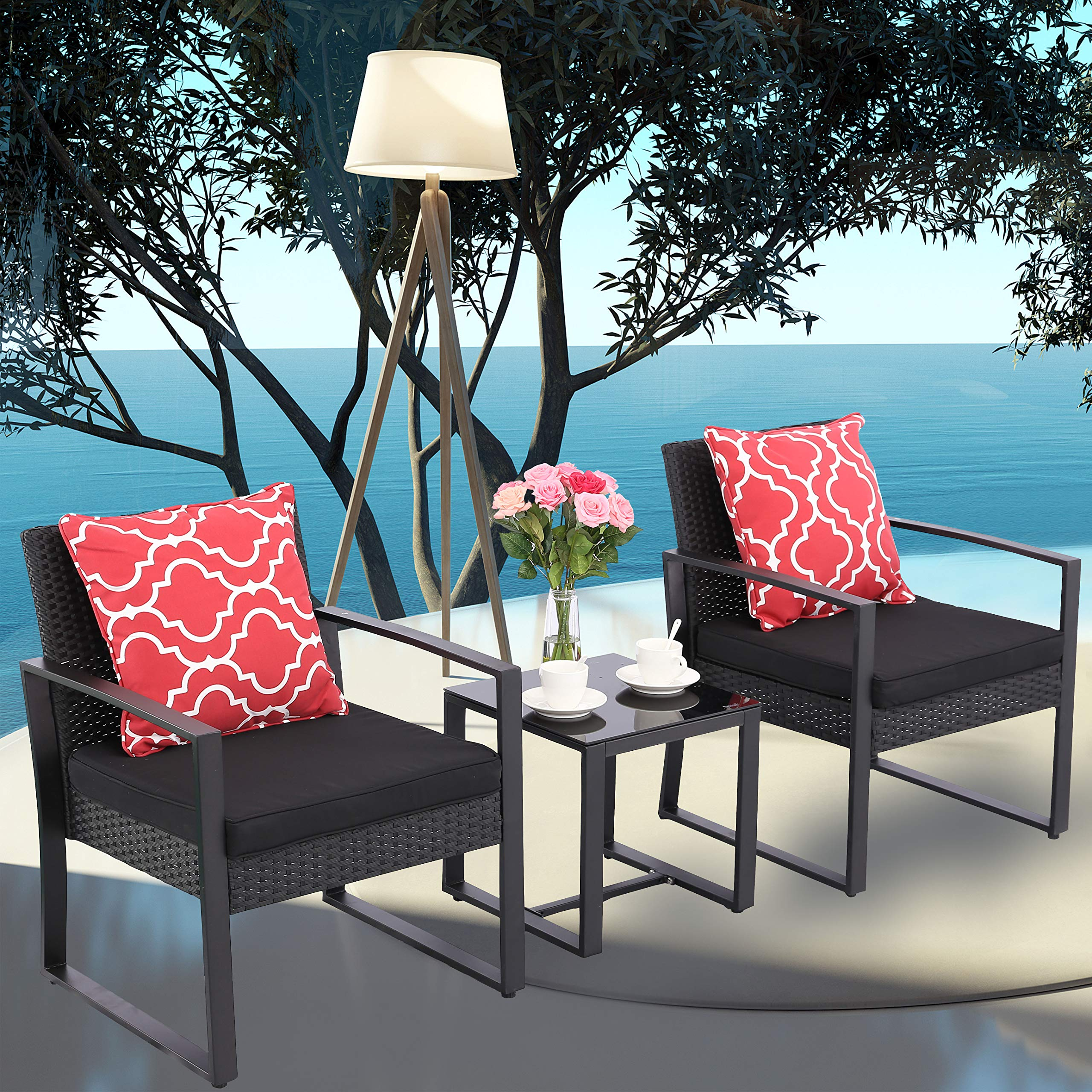 Do4U 3 Pieces Patio Set Outdoor Wicker Patio Furniture Sets Modern Bistro Set Rattan Chairs with Coffee Table Porch Backyard Pool Garden Chairs Set (631-BLK-BLK)