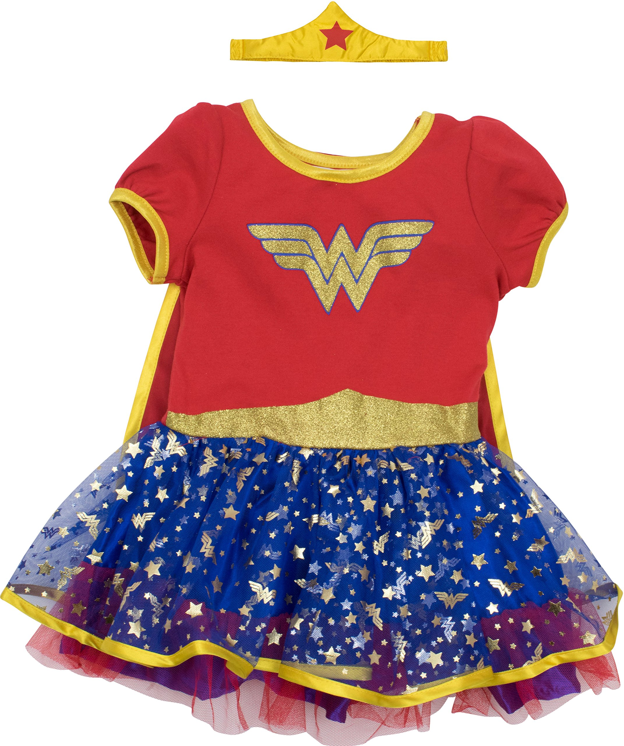 Wonder Woman Toddler Girls' Costume Dress with Gold Tiara Headband and Cape, Red (4T)