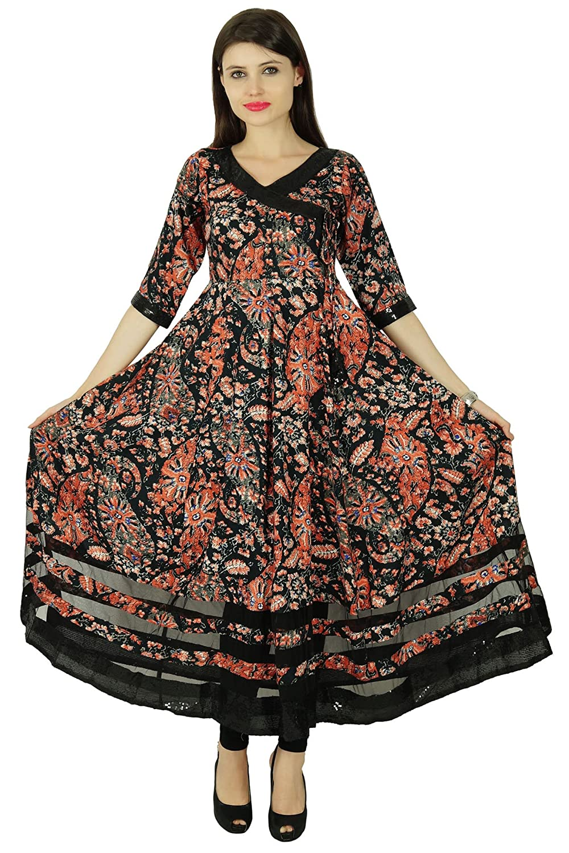 Bimba Frauen mit Blumenmuster in schwarz Baumwolle Kurta Mandarinekragen Anarkali Kurti indische Designer ethnischen Kleid