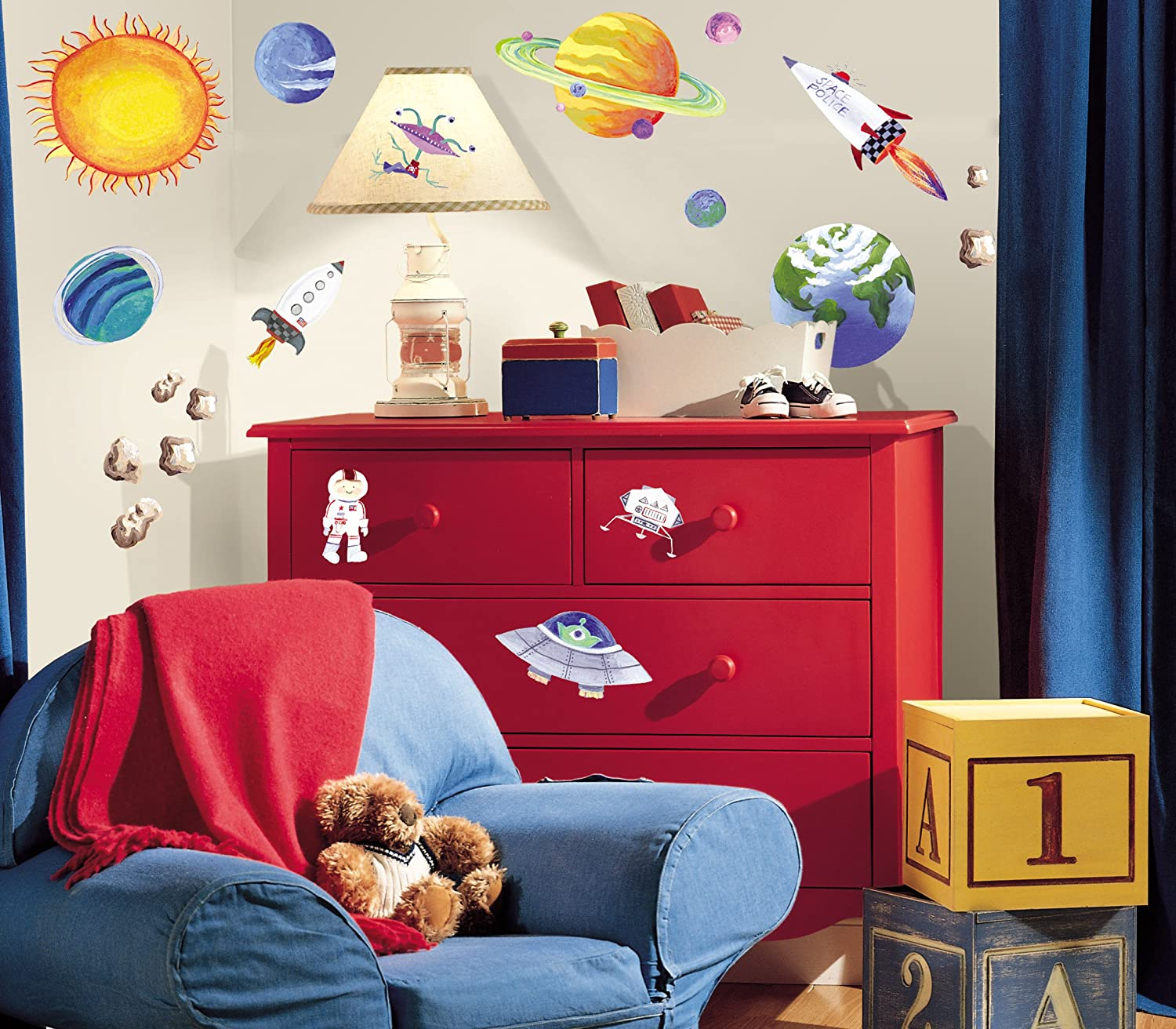 Space Bedroom Decor Roommates Rmk1316scs Outer Space Peel Stick Wall Decals