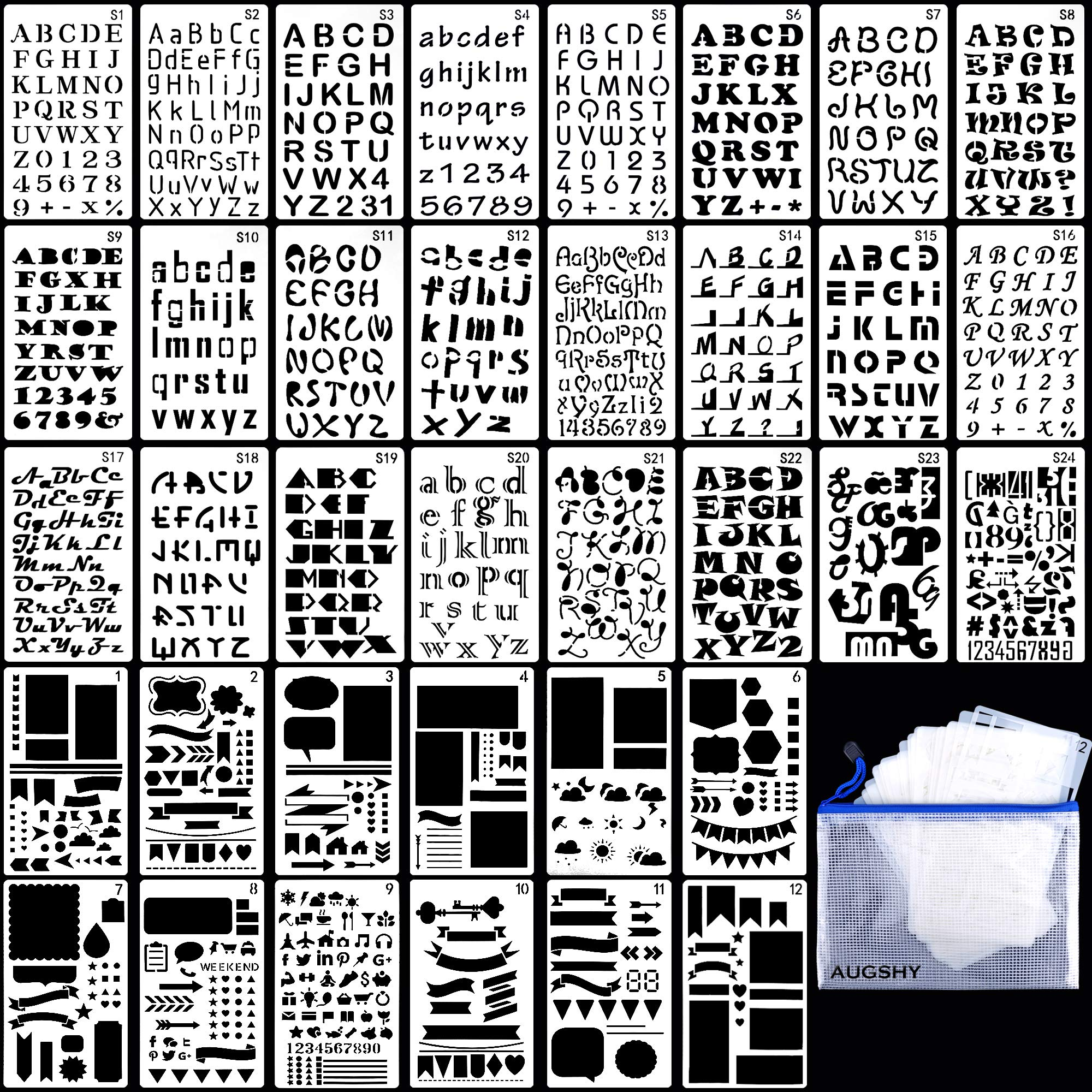 36PCs Letter and Number Stencils DIY Drawing Templates Journal Stencils with A Storage Bag for Notebook, Diary, Scrapbook by Augshy