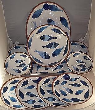 11-Piece Cynthia Rowley Rustic Blue Fish Melamine Plates Bowls Platters Indoor / & Amazon.com | 11-Piece Cynthia Rowley Rustic Blue Fish Melamine ...