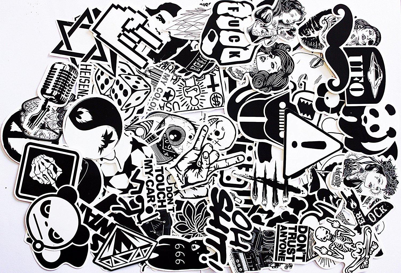 240 Stücke Aufkleber Schwarz-Weiß Graffiti Decals Bumper Stickers für Auto, Skateboard, Reisekoffer, Motorräder, Fahrräder, Boote, Laptop, Skatboard und auf Glatte Oberflächen DMF