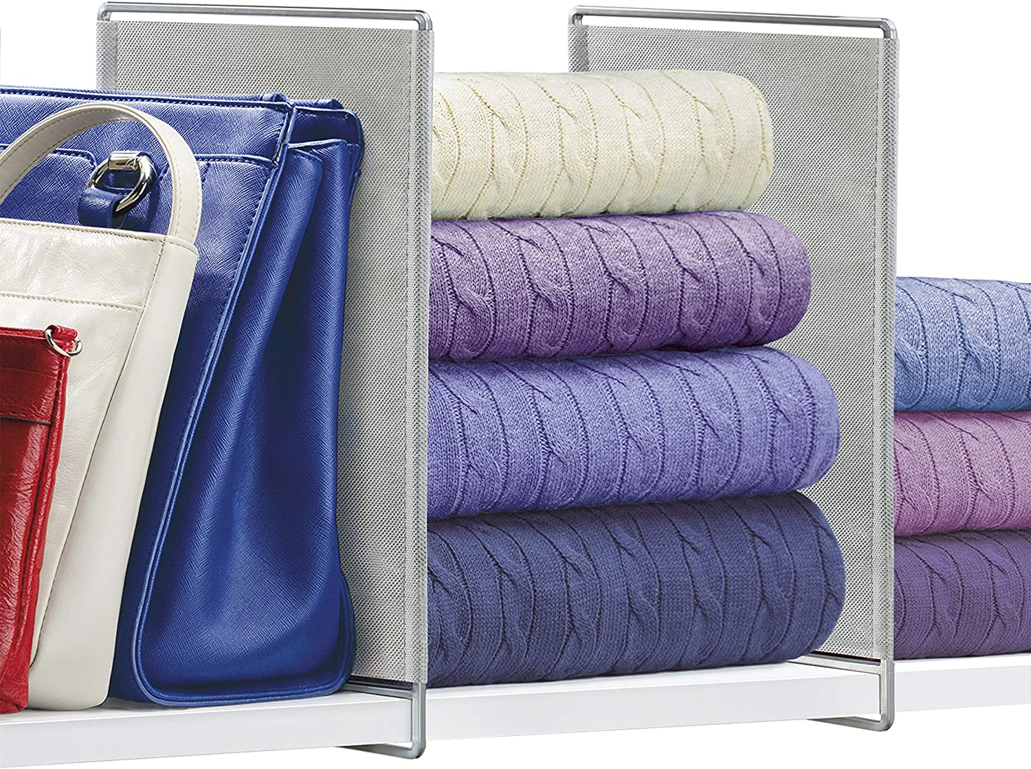 Lynk Vela Shelf Dividers - Closet Shelf Organizer (Set of 2) - Platinum