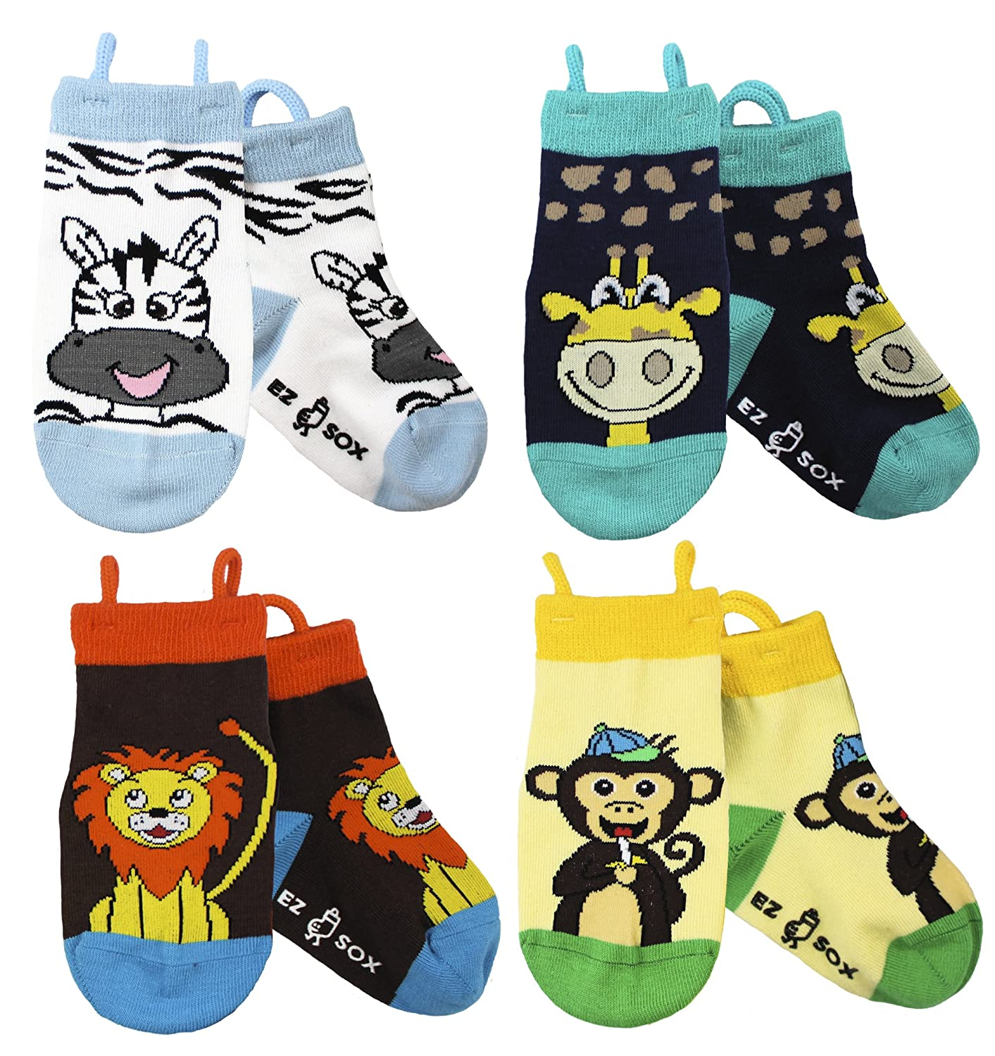 Toddler Boys Girls Non Skid Cotton Seamless Toe Socks Anti Slip Grip, Pull Up Loops Ez Sox Pack-Animal-CA
