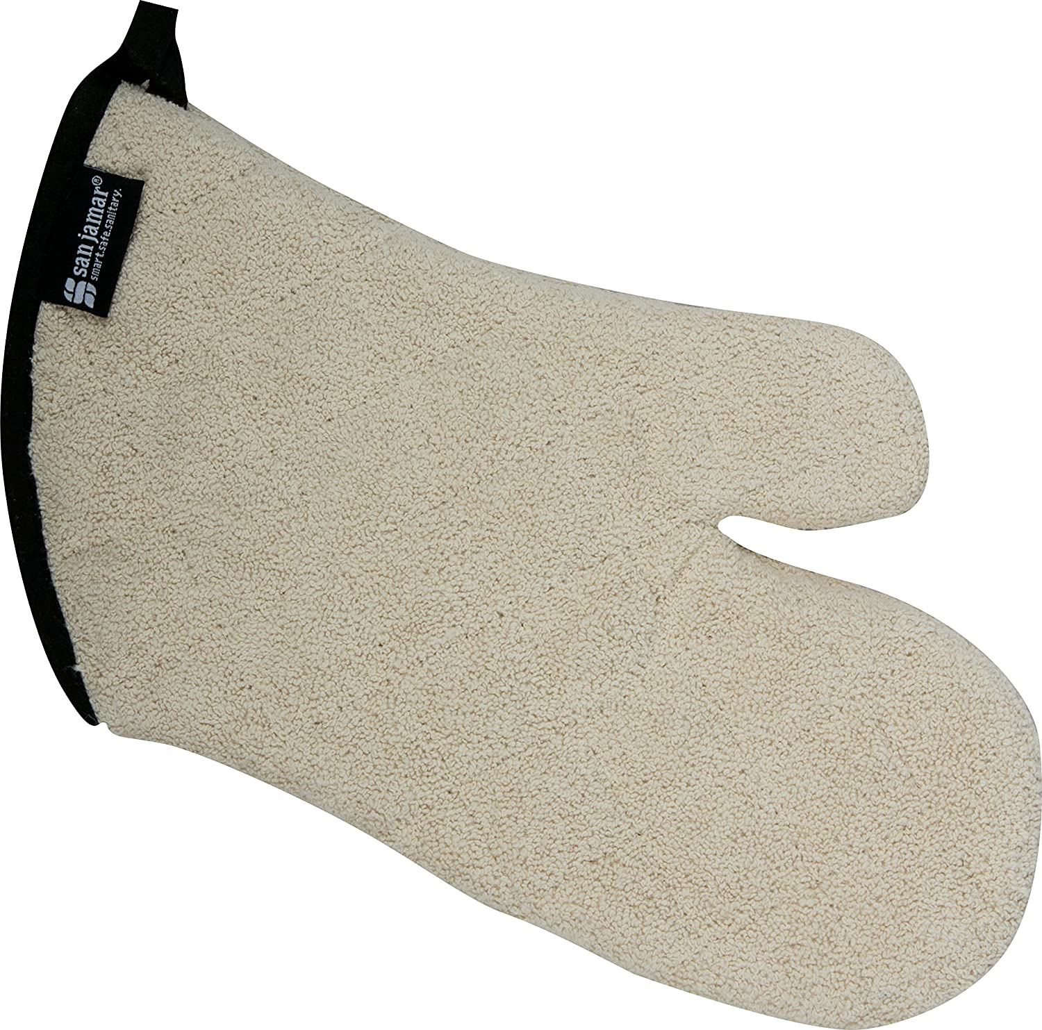 "San Jamar 813TM Heavy Duty Terry Cloth Temperature Protection Oven Mitt, 13"" Length, Natural"