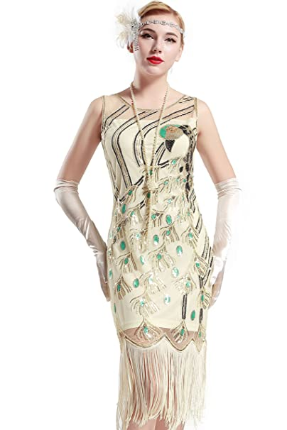 BABEYOND 1920 Vintage Peacock Sequin Fringed Party Flapper Dress (Small fdf2b7aa72ee