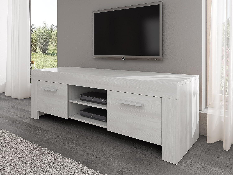 Tv Unit Cabinet Stand Rome White Wood Effect 160 Cm Amazon Co Uk  # Meuble Tv Okay