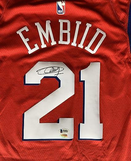 buy online 94c80 1a28d Joel Embiid Autographed Philadelphia 76ers Jersey. Signed ...